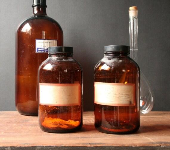 Amber brown chemistry bottles, pair, vintage photo lab