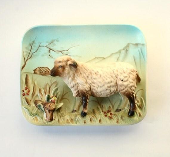 vintage lamb, ceramic wall plaque.