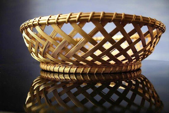 Woven brass basket, brass bread basket