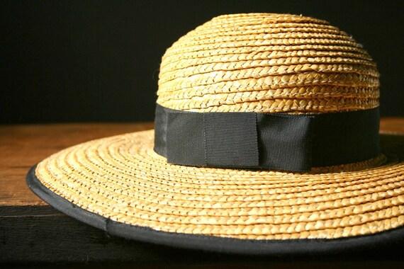 Vintage Straw Hat, women's wide brimmed straw hat