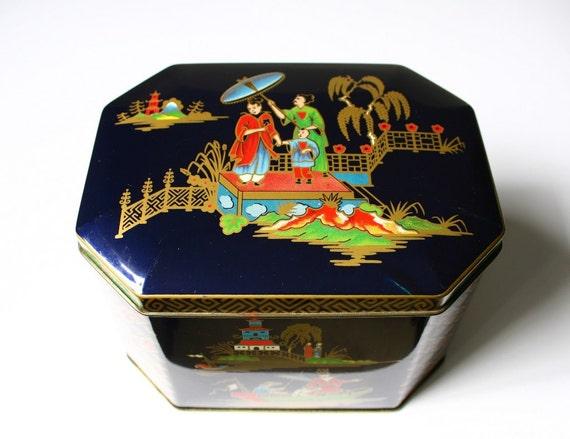 Vintage tin box, blue chinoiserie, tea tin, candy tin