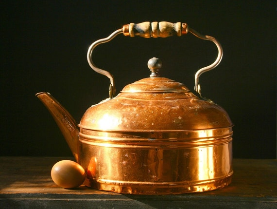 Antique copper kettle, HUGE, copper tea kettle