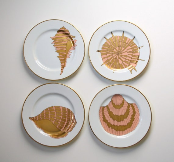 """Sea shells, Dessert plates, Salad plates Fitz and Floyd, shell pattern, """"Coquille d'Or"""""""
