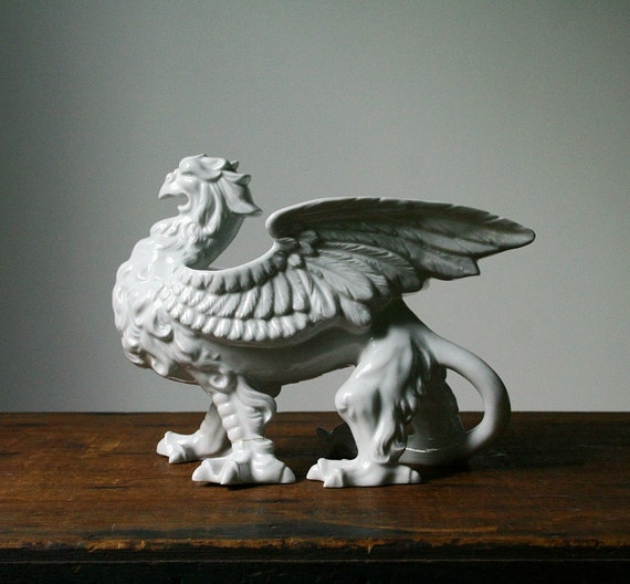 Porcelain griffin, Fitz and Floyd vintage planter