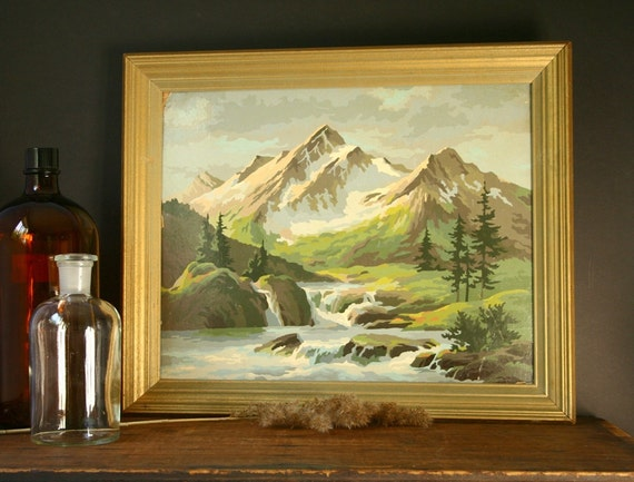 Paint By Number Mountain Scene Vintage Painting
