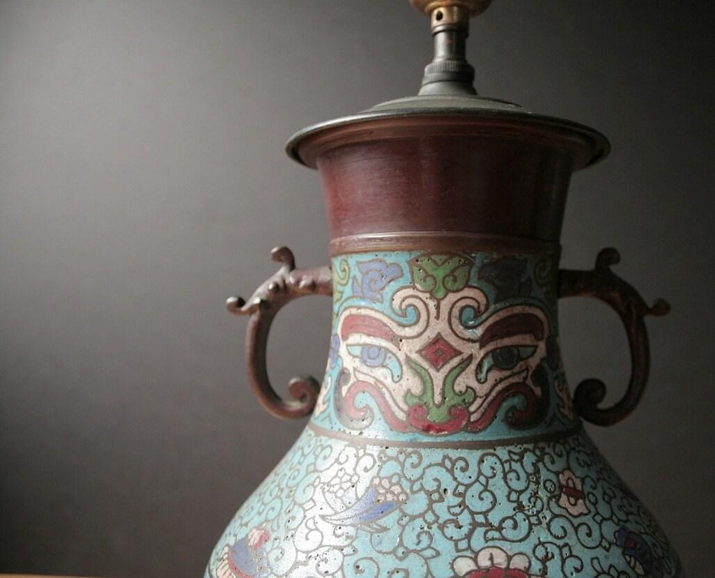 Antique Champleve Cloisonne Table Lamp Asian Vase Lamp