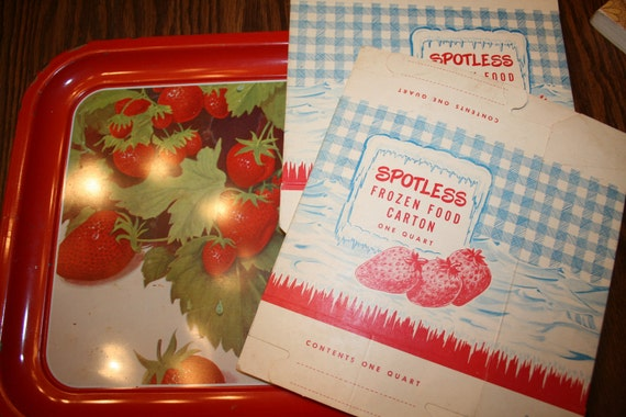 Vintage Frozen Food Cartons One Quart Spotless Brand red white blue strawberries freezer box gingham