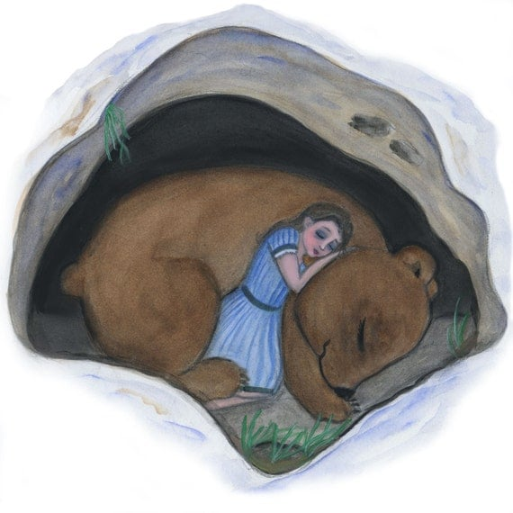 "Sleeping Girl and Bear Art Print, Victorian Fairytale Watercolor Painting Print, ""A Winter's Sleep"" (5"" x 5"")"