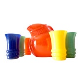 Reserve Anchor Hocking Rainbow Ball Pitcher and Tumblers