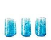 Set Of Six Daisy Drinking Glasses/Tumblers/Aqua/Capri Blue Glass