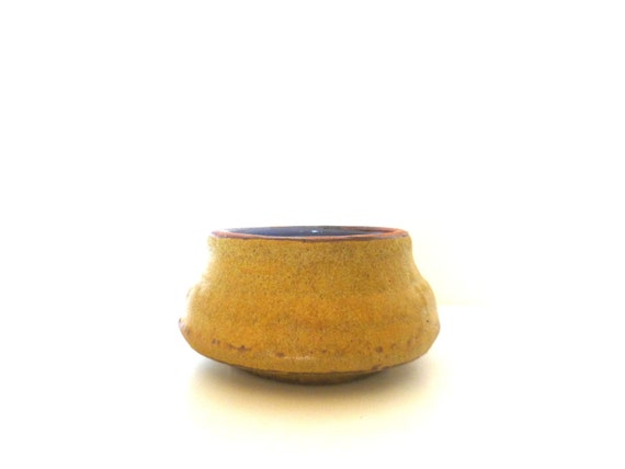 Vintage Pottery Bowl/ Hand Thrown Earthy Honey and Purple