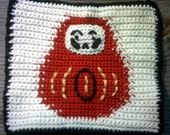 Hazel Catkins - Daruma Dharma Crocheted Potholder Hot Pad, Japan Relief