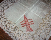 Vintage New York Souvenir handkerchief has the Empire State Building on the front with the words Greetings