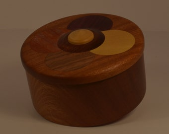 Round Wooden Jewelry box with inlaid lid