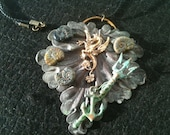 """Metal Collage / Assemblage Necklace - """"Sea Monster"""""""