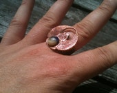 Vintage Copper Scarab Ring With Sapphire - Adjustable
