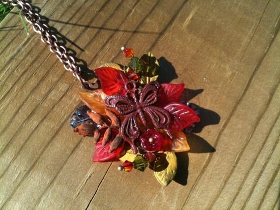 "Metal Collage / Assemblage Necklace with Copper Chain - ""Cornucopia"""