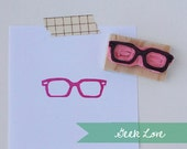 Hand Carved Geek Glasses Rubber Stamp