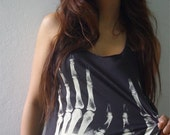 X-Ray Handcuffs Goth Punk Rock Hand Printed Tank Top M