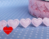 """3 meters iron-on tape """"hearts"""" - felt in pink"""