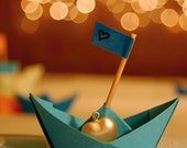 Origami boats, Original wedding gift, still life photograph, paper boats, 7x7, bokeh, sparkling - titled: Here Is My Heart