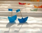 Two paper boats, Blue, Nursery decor, baby boy, still life photo, origami, 8x6 - titled: Come With Me Far Away