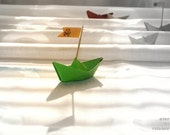 Green Paper boat, Nursery Wall art, Pirate boat photo, Art for kids room, Green Origami boat, Baby boy gift, Baby shower gift, Surreal art