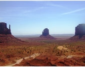 Monument Valley Panorama, orange, brown, landscape photograph, 14 x 7.7, Giclee print - titled: Monument Valley