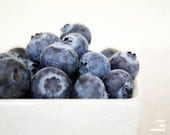 Blueberries, Kitchen art, Food photography, Blue, White, 10x8 - titled: Blueberries