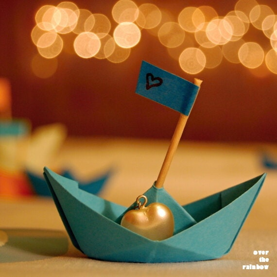 Blue Paper Boat with Pearl Heart, Love art, Engagement gift, Paper boat photo, Valentines day gift, Origami boat print, Surreal art