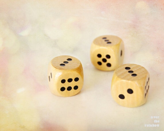 Three dice, Nursery Wall art, Dice photography, Art for kids room, Board Game, Baby shower gift,   Game Room wall art, Pink bokeh,