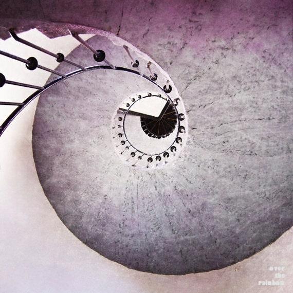 Purple Spiral, Architecture art, Spiral Staircase, wrought iron railing, Abstract Wall art, Minimalist art, Office décor, Modern art