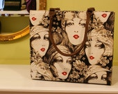 Vintage Style Woman Handbag With Nostalgic Women Portraits/High Fashion Women Accessories/Clutch Tote Shoulder Bags