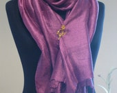 Purple Handwoven Pure Silk Shawl Scarf Neckerchief Wrap Stole Shrug/High Fashion Women Men Accessories