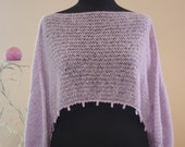 Lilac Short Top With Lilac Grape Shape Beaded Fringe/High Fashion Knitted Women Accessories