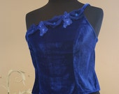 Cobalt Blue Silk Velvet One Shoulder Top Ornated With Handcrafted Tulle Beaded Flowers/High Fashion Women Couture Dress/Evening Tops