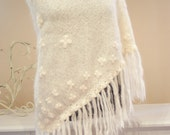 Ivory Hairy Woolen Triangular Shawl With Ivory Pearled Floral Hand Embroidery/High Fashion Women Knitted Accessories/Wedding Bridal Shawl