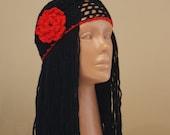 Black Red Handmade Carmen Crochet  Hat Beret Cap/Women Knitted Fashion Accessories