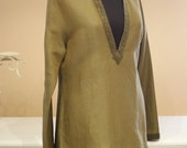 Olive Green Linen Tunic Cut Out Braided/Fashionable Women Tops,Blouses