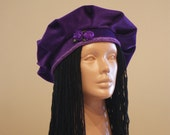 Purple Velvet Beret Cap Hat With Handcrafted Little Lilac Ribbon Roses/High Fashion Women Girl Head Accessories
