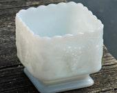 Milk White Glass Square Candy Bowl