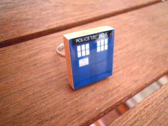 TARDIS Scrabble Tile Ring (Adjustable size)