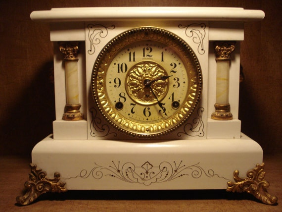 Seth Thomas White Adamantine Beulah 1905 Mantel Clock with key, Free Shipping Inside USA