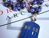 Doctor Who enamel TARDIS & blue glass crackle bead necklace