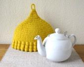 Yellow Wool Felted Crochet Tea Cosy