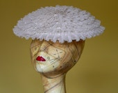 S A L E : 1950s White Fascinator Hat in Polka Dot Chiffon