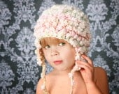 Baby Girl Crochet Photo Prop Hat Puffy Spring Flower Earflap 6 to 12 months