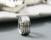 Made to Order - Artisan Argentium Silver Three Spinners Worry Ring