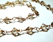Champagne Swarovski Crystal and Gold Link Necklace