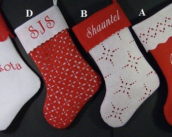 FOUR Personalized Christmas Stockings